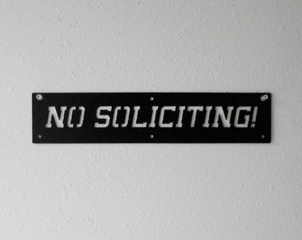 No Soliciting Metal Sign Wall Hanging