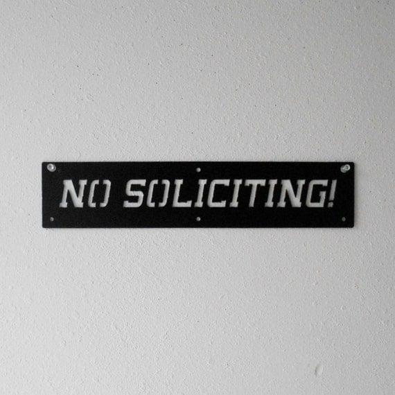No Soliciting Metal Sign Wall Hanging