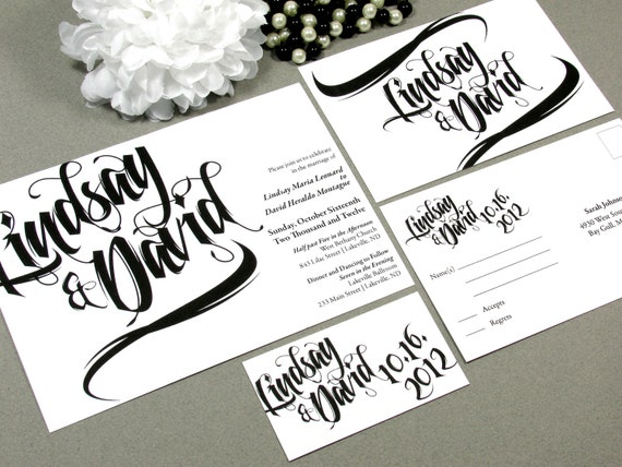Modern Paintbrush Wedding Invitation Set by RunkPock Designs : Black and White Script Calligraphy Custom Printed or DIY Invitations