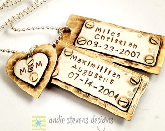 Personalized Gold Silver Layered Hand Stamped Mixed Metal Tags Riveted Steampunk Sterling NuGold Brass Hammered Rustic Heart Unisex Mom Dad