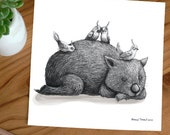 A Very Tired Wombat and Four Peaceful Pigeons - ECO Limited Edition Archival Print
