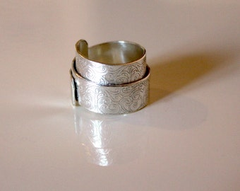 Vintage Scroll Sterling Silver Wrap Ring - Handmade