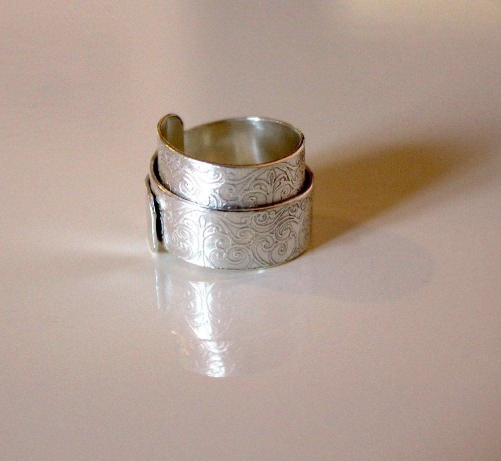 vintage scroll sterling silver wrap ring handmade