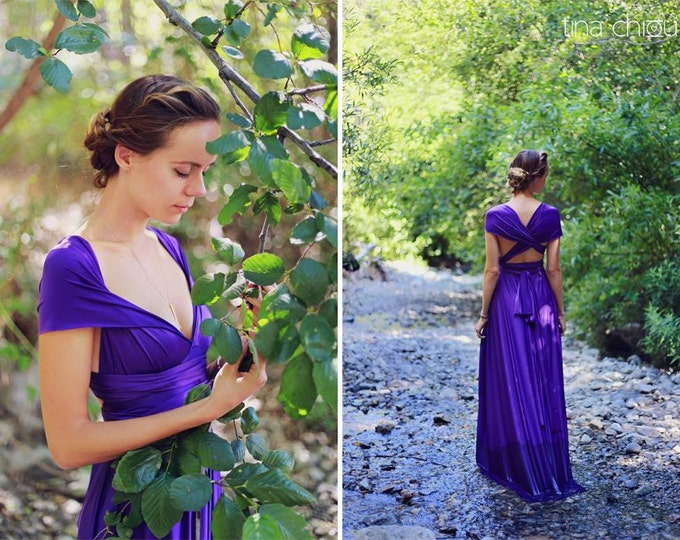 """Ready Made- 46"""" Standard~ Anemone Royal Purple Satin-Long Maxi Dress -Octopus Infinity Convertible Wrap Gown"""