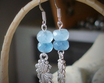 Fish Earrings, Koi, Blue Apatite and Koi Fish Silver Earrings   C 4-12