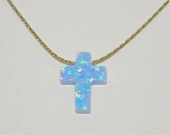 12x9mm Light Blue OPAL CROSS Charm with 14kt Gold Filled Fine Chain Necklace. Real Gold Filled. Free Shipping Worldwide.