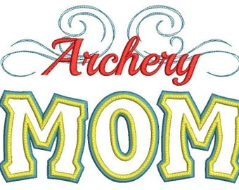 Archery Mom Applique Machine Embroidery Design - 4 Sizes
