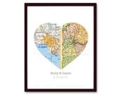 Map Art, Custom Wedding Gift, Anniversary Gift, Valentines Gift, Engagement, Heart Map Print, Custom Map, Any 2 Locations
