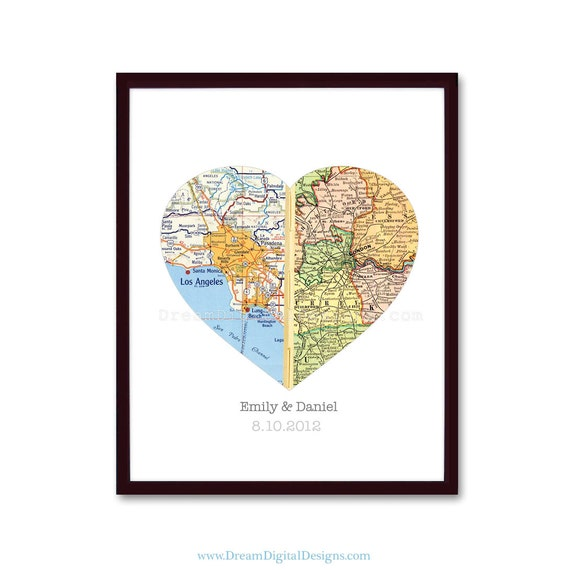 Map Art Wedding Gift : Map Art, Custom Wedding Gift, Anniversary Gift, Valentines Gift ...