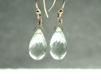 14k Gold Filled Luxe Gemstone Earrings, 14k Gold Filled Hoops, Amethyst, Mint Green Gemstone Earrings, Luxe Jewelry, Gift Box