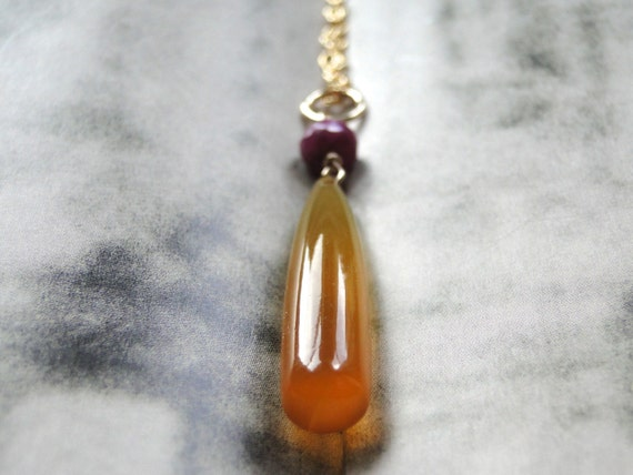 SALE Gemstone Necklace, Gold, Rubies Gift for Her, Carnelian, 14k Gold, Accessories, Gift Box