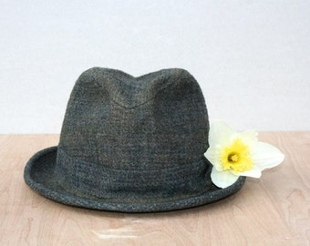 Vintage Wool Fedora, Navy, Charcoal, Gold Stitching