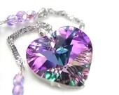 Pink Purple Heart Necklace Sterling Silver Swarovski Pink Crystal Heart Pendant Necklace