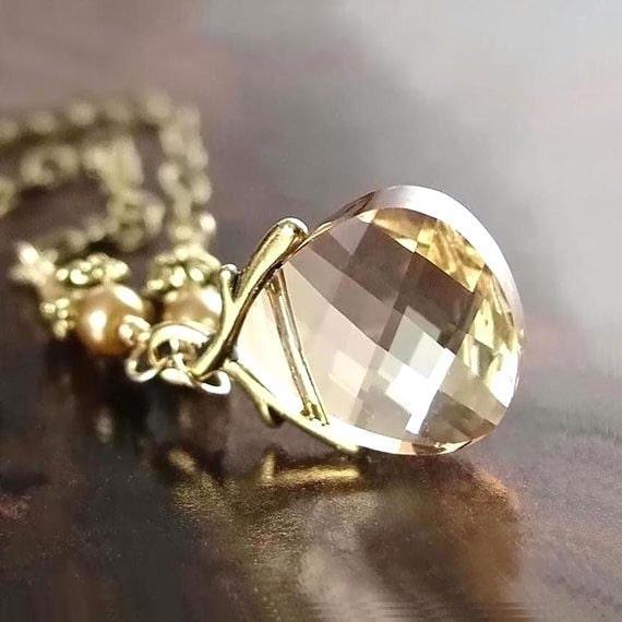 Champagne Crystal Necklace Swarovski Ginger Honey Golden Crystal Pendant Necklace Antique Gold Brass