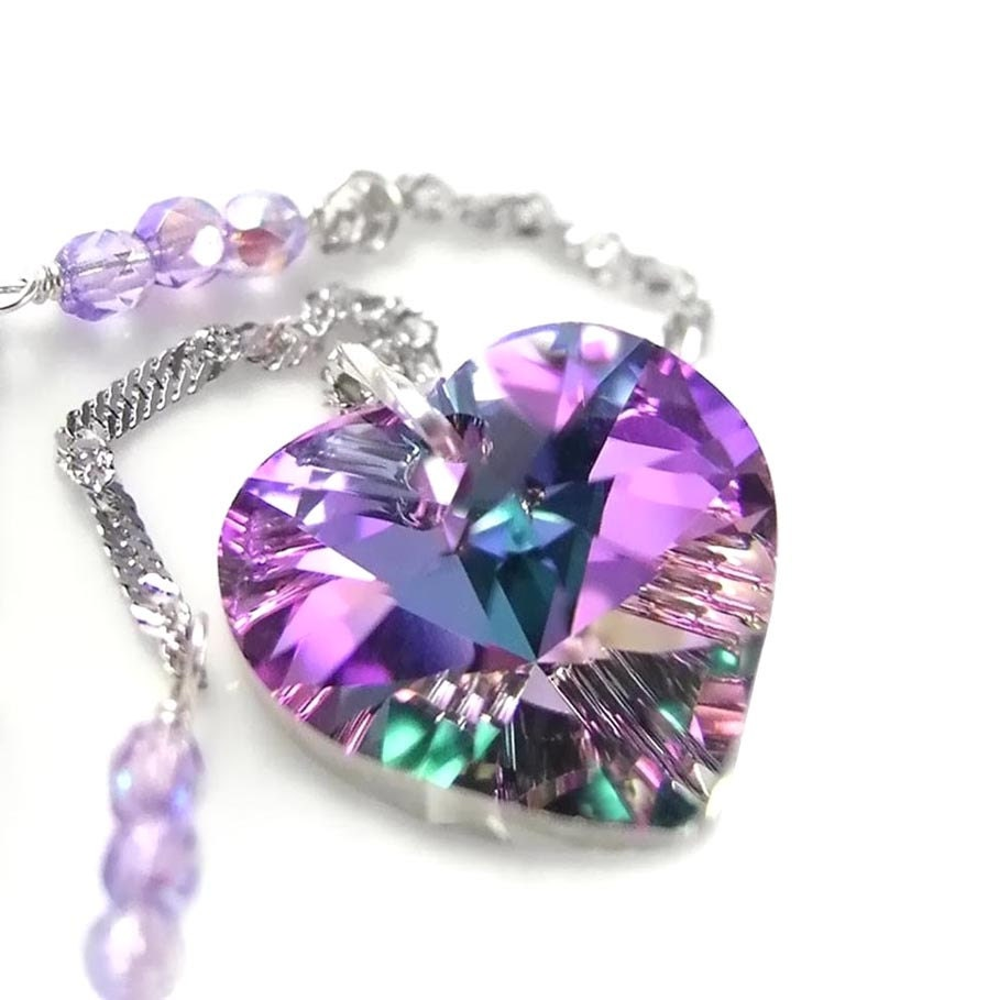 Pink Purple Heart Necklace Sterling Silver Swarovski Pink