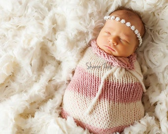 Pink and Cream Swaddle Sack Newborn Baby Photography Prop