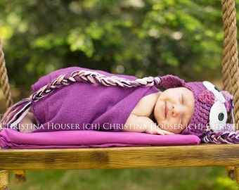 Purple Swaddle Wrap Newborn Baby Photography Prop