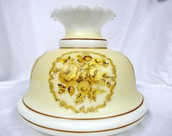 Extra Large Glass Lamp Shade Ruffled Cram and Gold Roses Home and Garden Lighting Accessories Lamp Shades