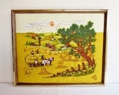 Vintage Embroidered Picture - Framed - Crewel Embroidered - Needlework Picture