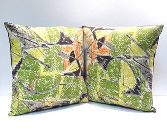Abstract Green Atomic Barkcloth Pair Vintage Mid Century Pillow Modern Eames Era Design