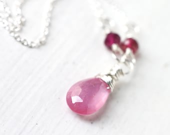Pink Sapphire Necklace Wire Wrapped in Sterling Silver, Lovely Shade of Pastel Pink, September Birthstone