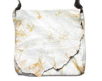 Handmade Tan and White Embroidered Large Leather Purse