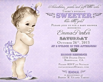 Vintage Baby Shower Invitation For Girl - Antique - Purple - DIY Printable