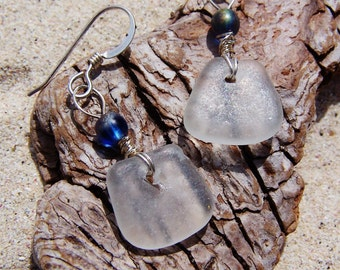 Sea Glass Earrings in Frosty White - Petite Beach Glass with Iridescent Glass Bead Accents on Sterling Silver French Ear Wires EW 37