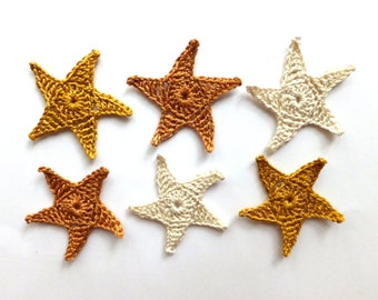 Sea stars applique - golden sea stars embellishment - Beach party decorations -  crochet sea stars - Beach wedding decor - set of 6  ~2.1 in