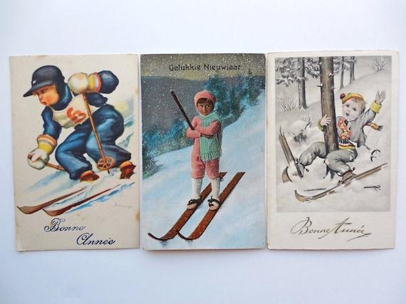 ski vintage cartes postales enfants carte de voeux. Black Bedroom Furniture Sets. Home Design Ideas