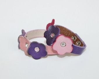 Kids Collection,Two Leather Bracelets  Purple  and Pink Flowers,Genuine Leather  ,Swarowski Crystals  Bracelet