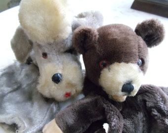 Antique Children Hand Puppets // Bear and Poodle  // 460