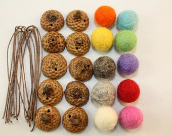 acorn ornament DIY kit,Christmas tree ornamentm set of 10 Assorted colors