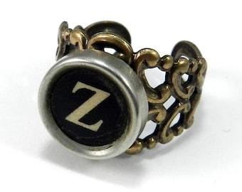 Steampunk Ring - Typewriter Key Ring - Letter Z Ring Name Ring - Custom Initial Ring - Brass Adjustable Ring