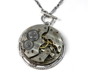 Steampunk Statement Necklace - Antique Pocket Watch Necklace - Vintage Mechanical Watch, Steampunk Jewelry by compassrosedesign