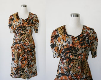 vintage animal print dress large, button front dress, tiger print dress L