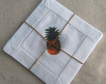 Linen Napkins Coasters Pineapple Cocktail Set Welcome Neighbor Party Decor Gift