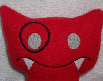 Handmade Stuffed Big Red Snaggle Fanged Monster - Fleece, Child Friendly