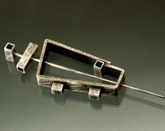 Industrial Blackened Overlapped Trapezoid Brooch and Pendant, Rustic Necklace, One of a Kind, Ready to Ship