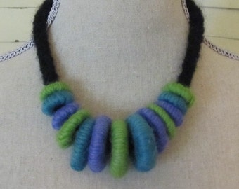 Felted Circles Necklace...Bright and Beautiful