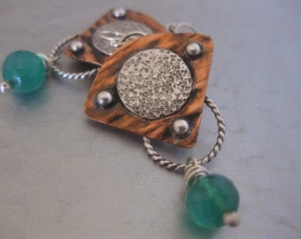 Copper Silver Moon Earrings Green Onyx Sterling Silver