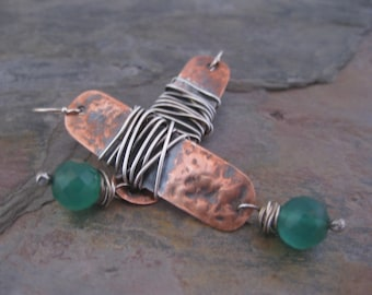 Hammered Copper and sterling Silver Earrings with Green Onyx