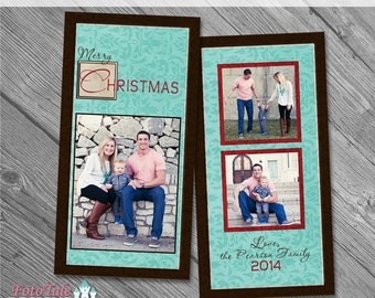 Rustic Christmas SlimLine 4x8 Greeting Card No 3- custom photo templates for photographers on Pro Digital Photos and MPixPro Specs