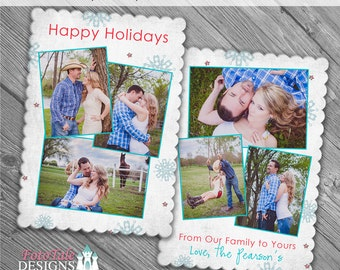 Holly Jolly 5x7 Scalloped Card- custom photo templates for photographers on Millers Lab and MPixPro Luxe Card Specs