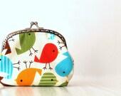 Colorful birds metal frame purse