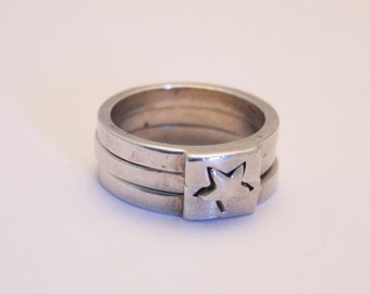 silver stacking rings puzzle ring uk size o 1 2