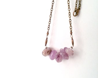 Ameythst nugget necklace- modern, everyday jewelry