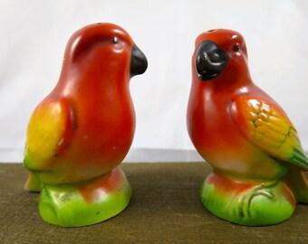 Vintage Orange Parrot Shaker Set Germany Art Deco Pair of Parrots Shakers Orange Yellow Green Hand Painted Bird Shakers 1930's Kitsch