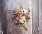 FARMHOUSE Yellow Dried Flower Wedding Boutonniere - Perfect for your RUSTIC Country Wedding