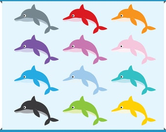 Digital Clip Art - Cute Dolphin in 12 colors - Instant Download